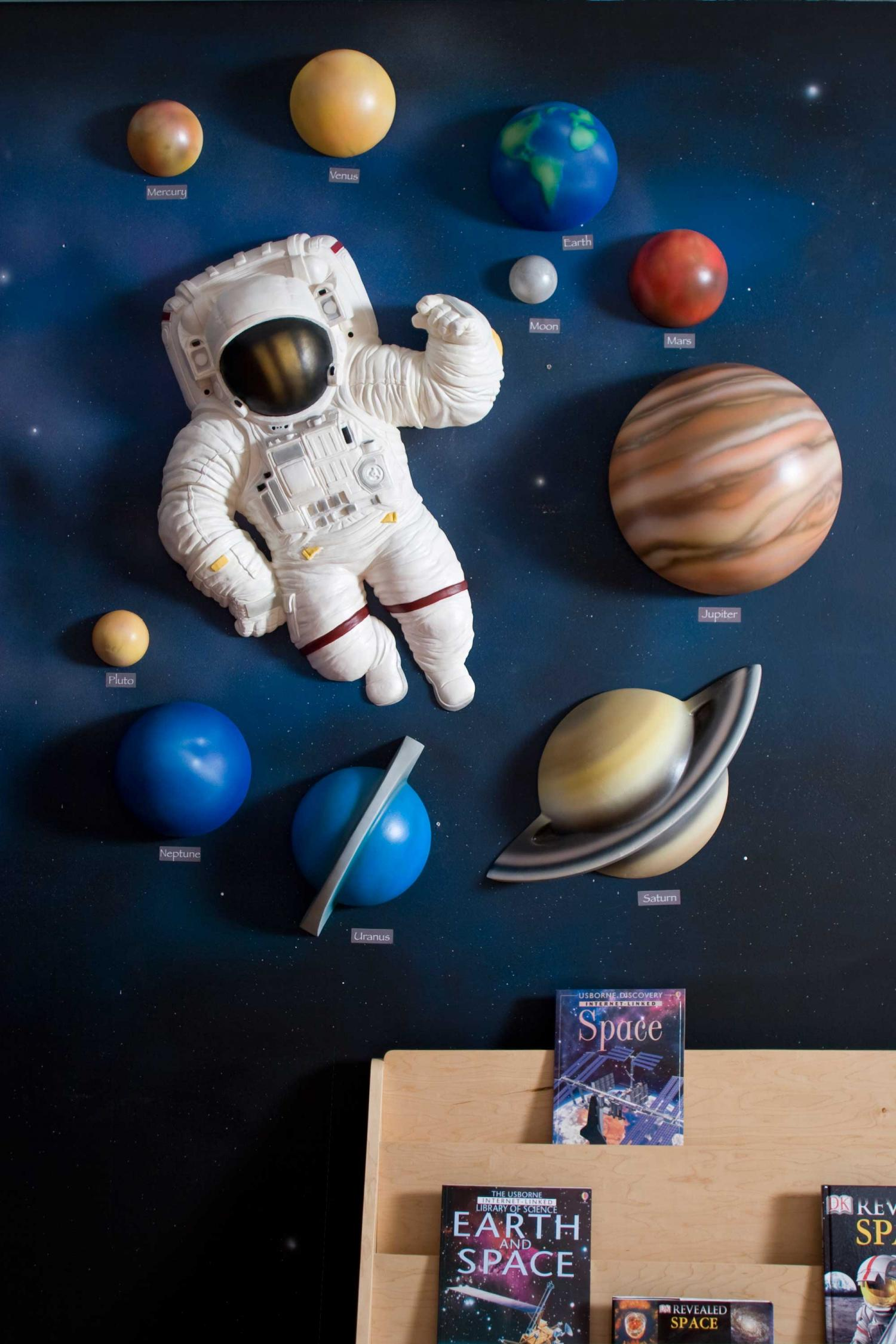 Beetling 3d wall designs solar system astronaut set for Outer space decor ideas